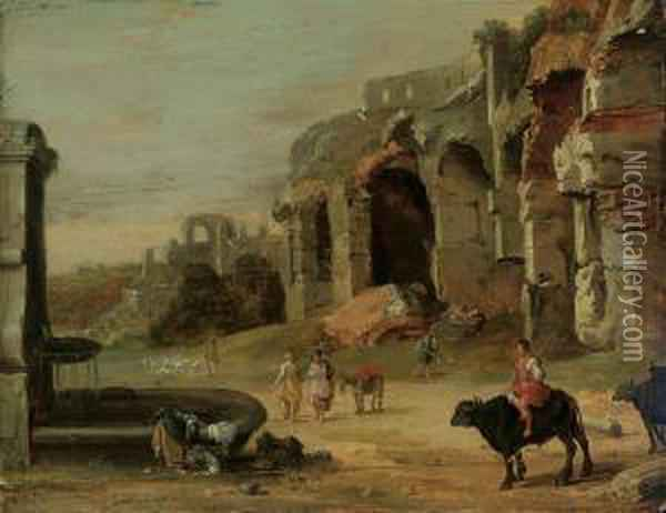 An Italianate Landscape With A Woman Washing Clothes In A Fountain Oil Painting - Bartholomeus Breenbergh