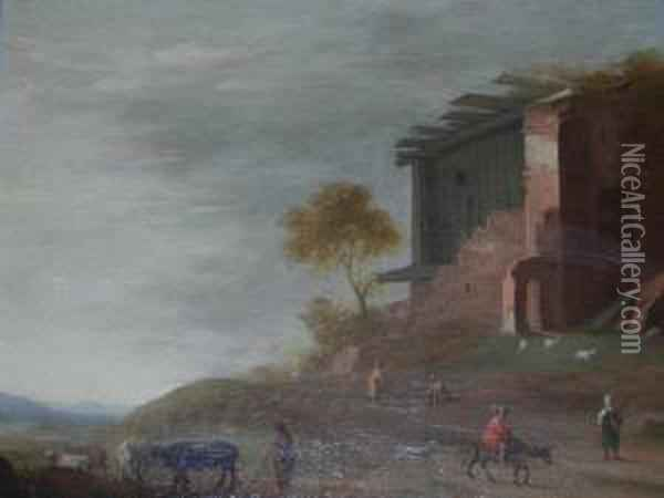 Pastoral Scene With Figures Near A Ruined Timbered Building Oil Painting - Bartholomeus Breenbergh