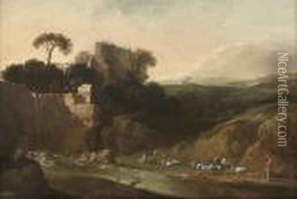 A Wooded River Landscape With A Waterfall Oil Painting - Bartholomeus Breenbergh