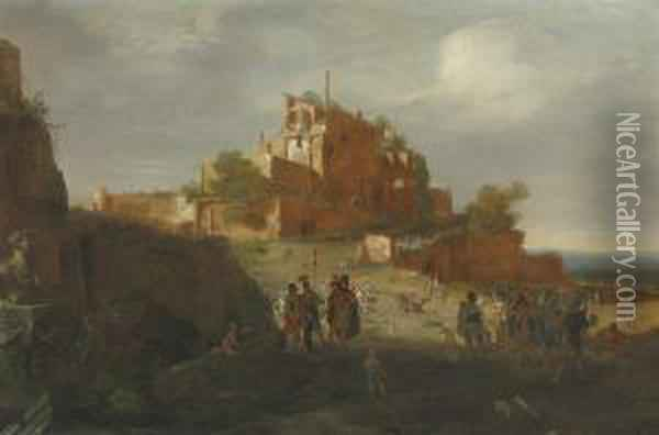 An Italianate Landscape With Soldiers And Ruins On A Hilltop Beyond Oil Painting - Bartholomeus Breenbergh