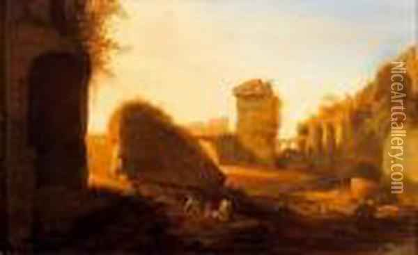 Ruines Romaines Animees De Personnages Oil Painting - Bartholomeus Breenbergh