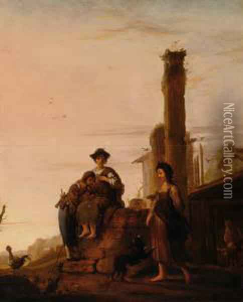 Figures In A Landschape Withclassicist Ruins Oil Painting - Bartholomeus Breenbergh