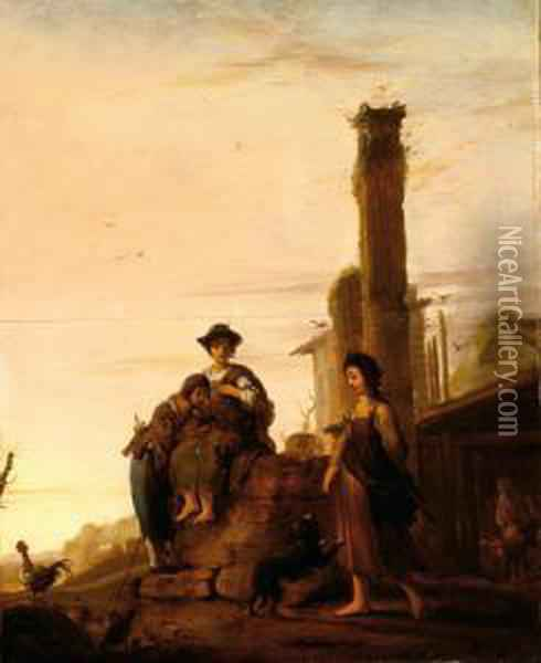 Figures In A Landscape Withclassicistic Ruins Oil Painting - Bartholomeus Breenbergh