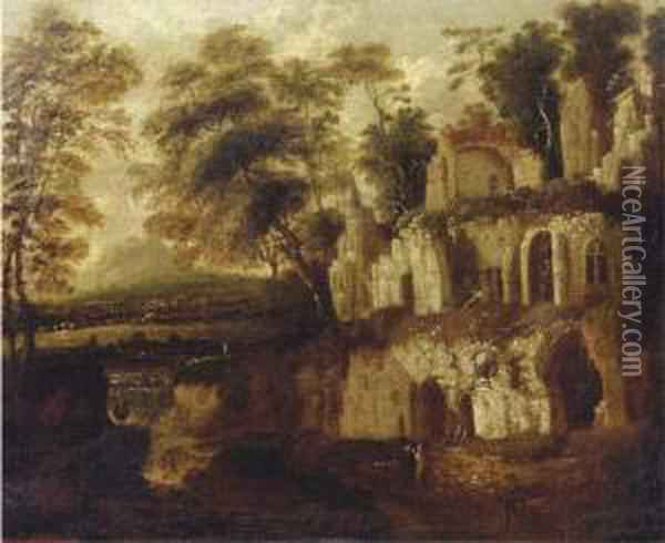 An Italianate Landscape With  Figures Resting Near An Overgrown Ruin, A River And Town In The Distance Oil Painting - Bartholomeus Breenbergh