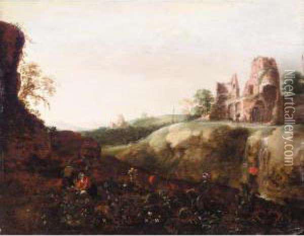 Italianate Landscape With Peasants Picking Flowers, With Some Ruins Beyond Oil Painting - Bartholomeus Breenbergh
