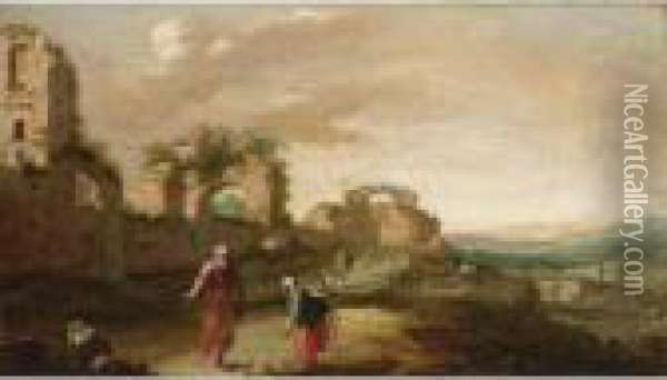 Elijah And The Widow Of Zarephath In A Classical Landscape (i Kings 17: 8-24) Oil Painting - Bartholomeus Breenbergh