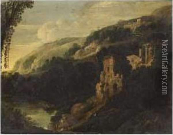 An Italianate Mountainous Landscape With A Washerwoman In The Foregroud Near A Stream Oil Painting - Bartholomeus Breenbergh