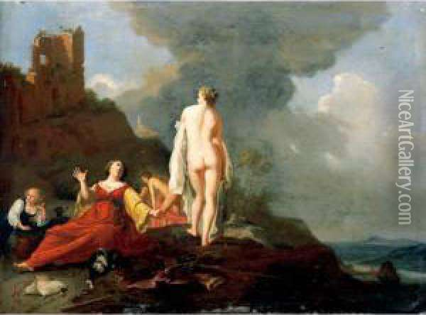 Landscape With Diana And Her Nymphs Resting From The Hunt Oil Painting - Bartholomeus Breenbergh