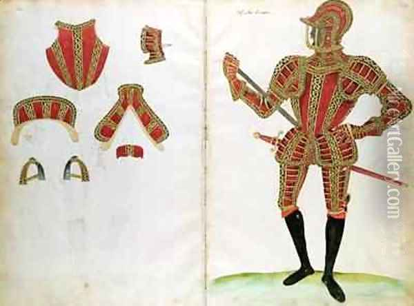 Suit of Armour for Lord Compton from An Elizabethan Armourers Album Oil Painting - Jacobe Halder