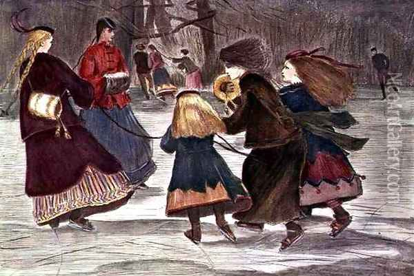 Skating in Winter Oil Painting - Winslow Homer
