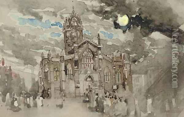 A procession at St Giles, Edinburgh Oil Painting - James Watterston Herald