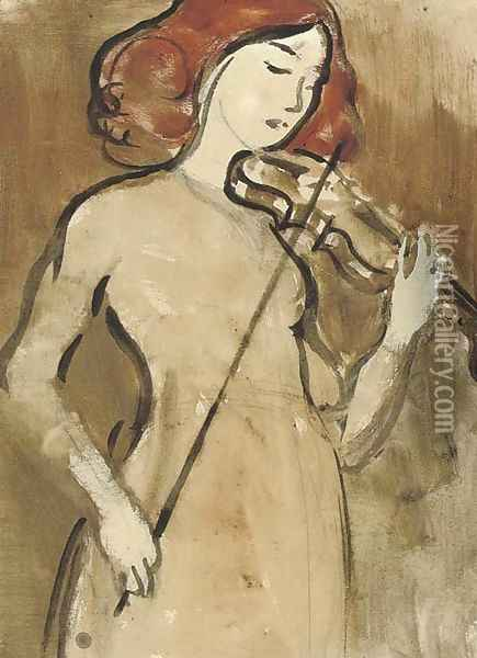 The violinist Oil Painting - James Watterston Herald