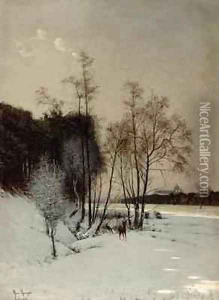 A Winter View in Posen Oil Painting - Hans Hampke
