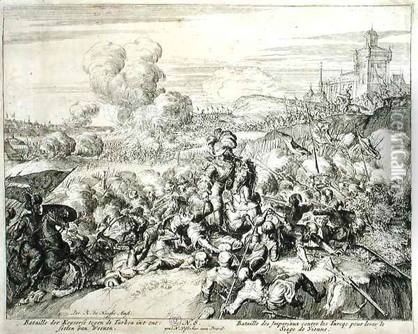 Vienna Print Cycle The Emperors Army fighting with the Turks Oil Painting - Romeyn de Hooghe