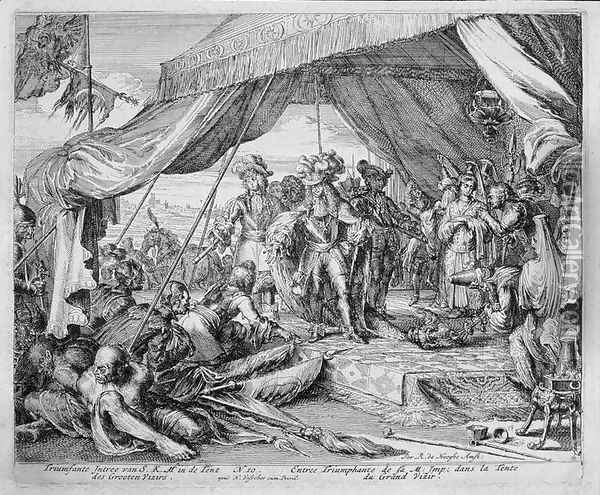 Vienna Print Cycle Entry of Emperor Leopold 1640-1705 into the Tent of the Grand Vizier Oil Painting - Romeyn de Hooghe