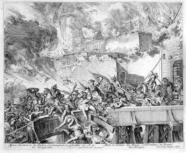 Vienna Print Cycle Explosion of a Mine and Countermine Raid on the Turks Oil Painting - Romeyn de Hooghe