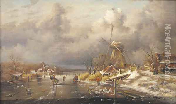 Figures skating on a frozen canal by a windmill Oil Painting - Romeyn de Hooghe