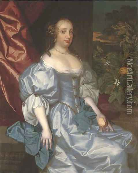 Portrait of a lady, traditionally identified as Catherine of Braganza, three-quarter-length, in a light blue satin dress Oil Painting - Jacob Huysmans