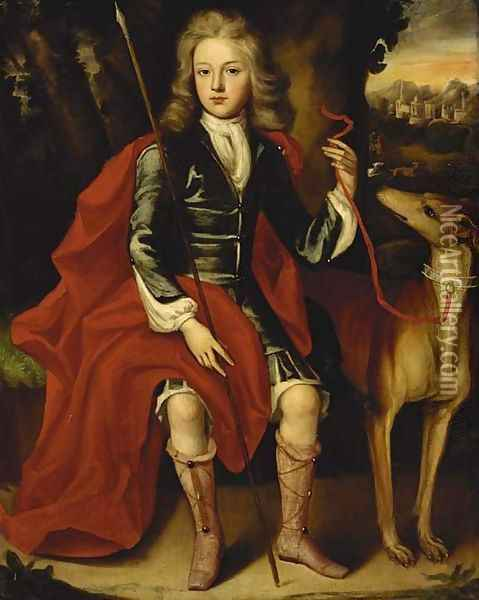 Portrait of a young huntsman, seated full-length, in a blue coat with a crimson wrap, holding a spear, a hound at his side Oil Painting - Jacob Huysmans