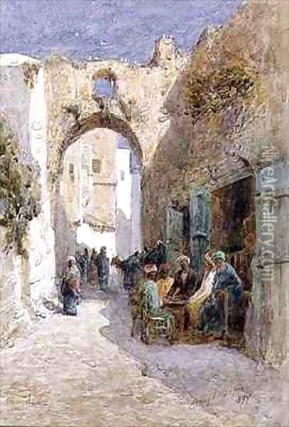 A Quiet Street Jerusalem Oil Painting - Henry Andrew Harper