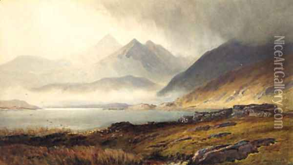 Loch and Broch and Hills in misty background Oil Painting - Henry Andrew Harper
