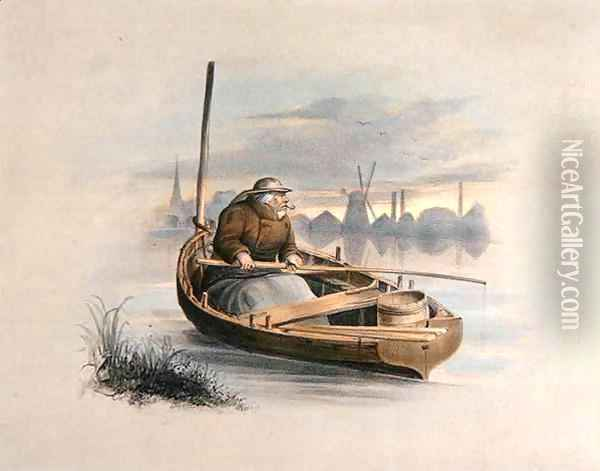 Eel bobing Battersea from a set of six images of Angling Oil Painting - Henry Heath