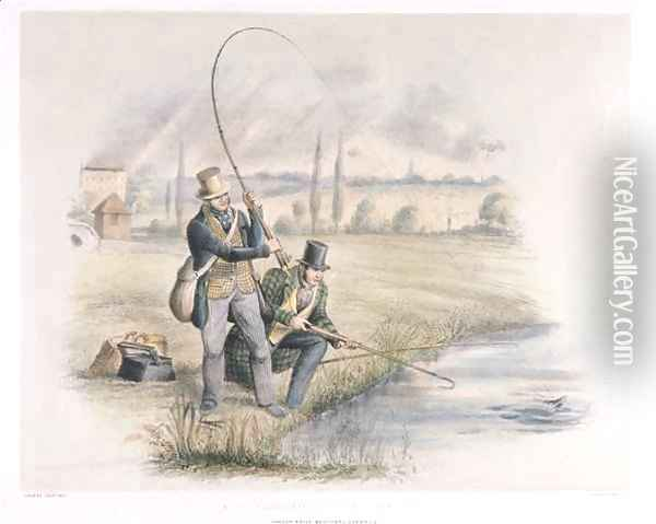 Jack Fishing Lea Bridge from a set of six images of Angling Oil Painting - Henry Heath