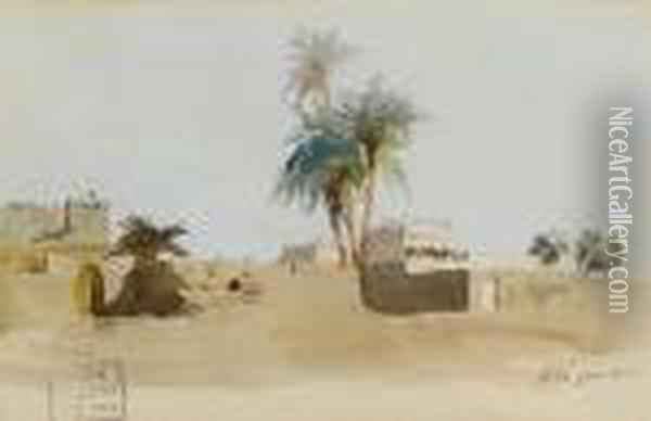 View From The Nile Of A Village With Pigeon Houses Oil Painting - Frederick Arthur Bridgman