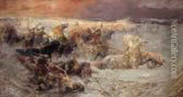 Pharoah And His Army Engulfed By The Red Sea Oil Painting - Frederick Arthur Bridgman