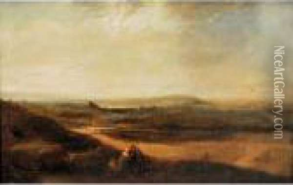 Figures In A Twilight Landscape Oil Painting - Henry Bright