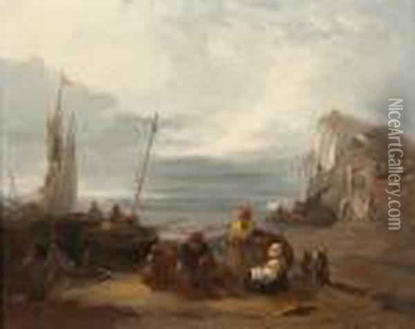 Figures And Boats On A Beach At Sunset Oil Painting - Henry Bright