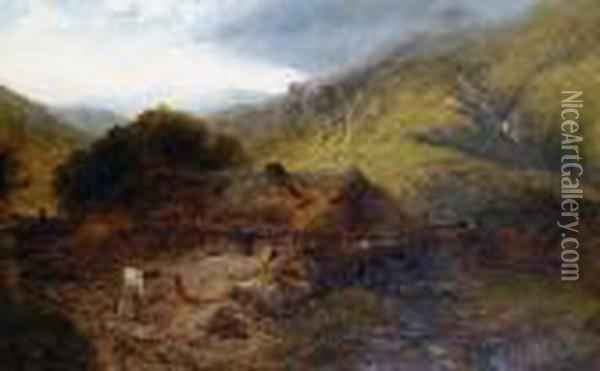 A Welsh Landscape With Snowdon Beyond Oil Painting - Henry Bright