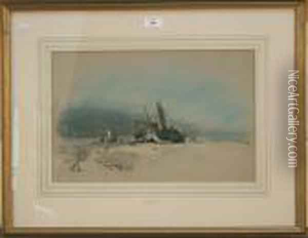 Fisherfolk In Beached Boats On Theshore Of A Coastal Landscape Oil Painting - Henry Bright