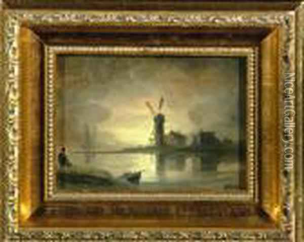 4in. X 5 1/2in. On Panel  Dordrecht-a Windmill By The River At Moonrise With Inscription And Date  1871 On The Reverse Oil Painting - Henry Bright