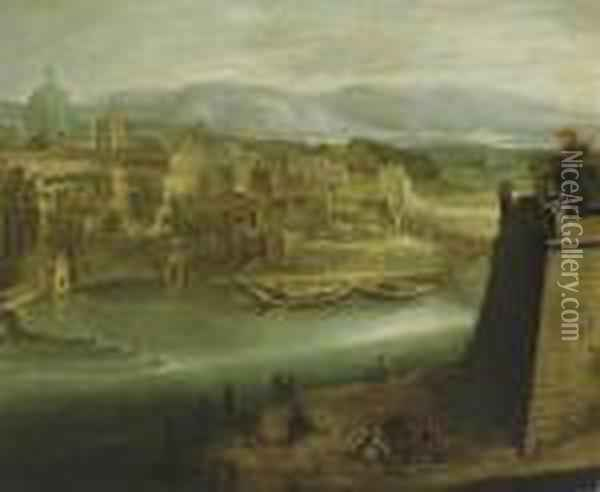 A View Of A Harbour With Figures On A Shore, St. Peter's Oil Painting - Paul Bril