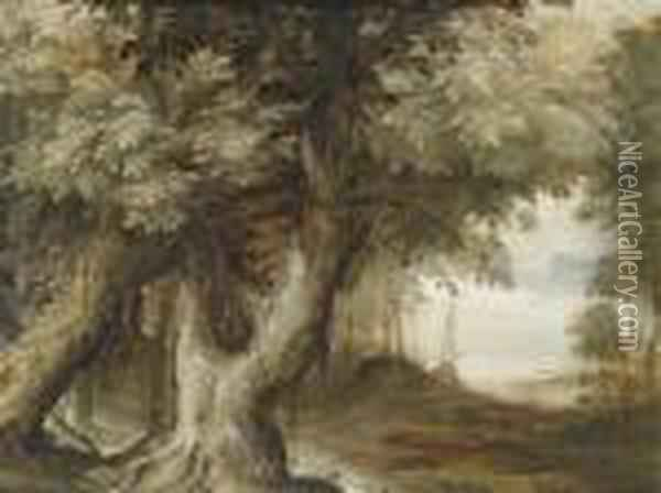 Wooded Landscape With A View Of Alake Oil Painting - Paul Bril