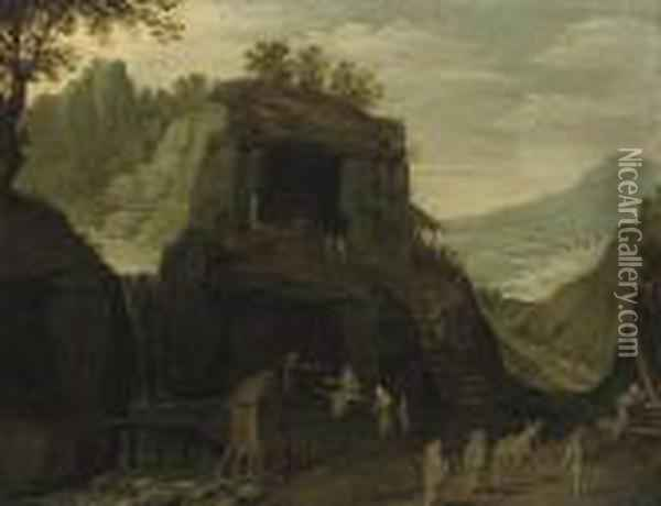 A Mountainous Landscape With Pilgrims Outside A Grotto Oil Painting - Paul Bril