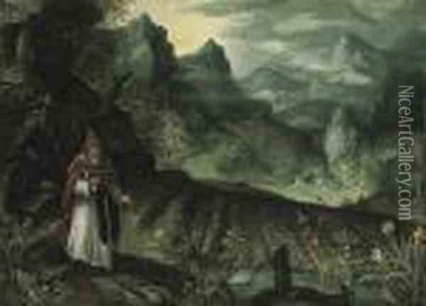 An Extensive Landscape With Saint Anthony Abbot Before His Field Ofcrops Oil Painting - Paul Bril