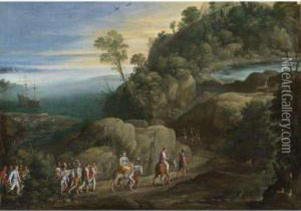 An Extensive Landscape With Scenes From The Historiaeaethiopica Oil Painting - Paul Bril