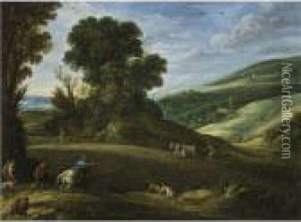 An Extensive Landscape With Hunters Crossing A Field Beingploughed Oil Painting - Paul Bril