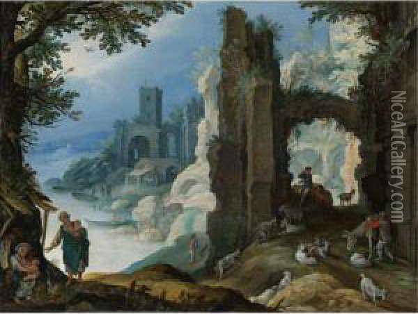 Figures In A Landscape With Ruins Oil Painting - Paul Bril