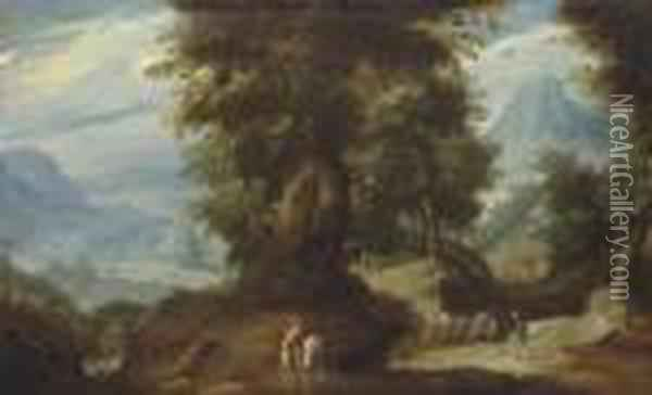 A Mountainous Wooded Landscape With A Rider And Travellers On A Path By A Watermill Oil Painting - Paul Bril