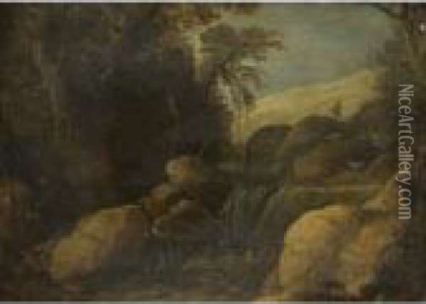 A Landscape With A Goat Herder And His Flock Near A Waterfall Oil Painting - Paul Bril