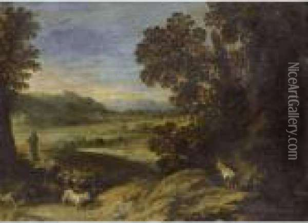 A Goat Herd Near A Wood In An Extensive Landscape Oil Painting - Paul Bril