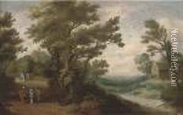 A Wooded River Landscape With Travellers On A Track Oil Painting - Paul Bril