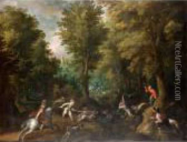 Hunters And Their Dogs Chasing A Boar In A Wooded Landscape Oil Painting - Paul Bril