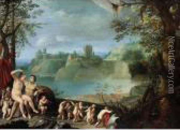 Mars And Venus In An Extensive River Landscape With Putti Playing And Dancing Oil Painting - Paul Bril