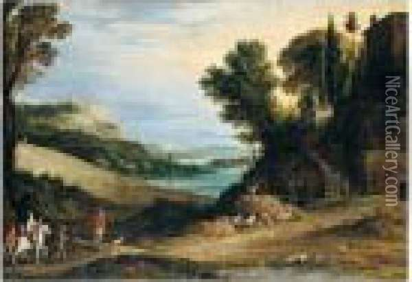 An Italianate Landscape With A  Hawking Party Approaching A Villa, Other Huntsmen And A Hilltop Town  Beyond Oil Painting - Paul Bril