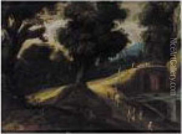 A Wooded Landscape With Figures Beside A River And A Bridge Beyond Oil Painting - Paul Bril