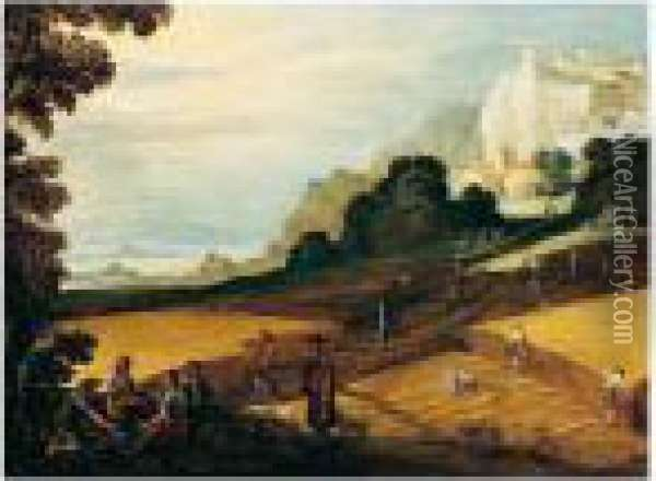 A Harvesting Scene With Workers Eating And Resting In The Foreground Oil Painting - Paul Bril